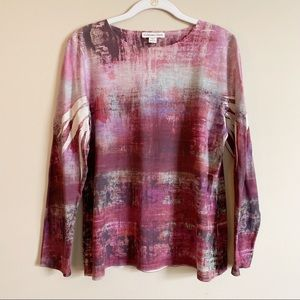 COLDWATER CREEK / pink and brown long sleeve / M